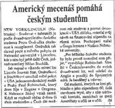 Americky mecenas pomaha ceskym studentum